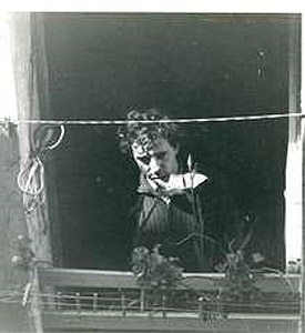 "Bolaño at window of his studio in Barcelona's Raval district, setting of ""Bar Diary"" story"